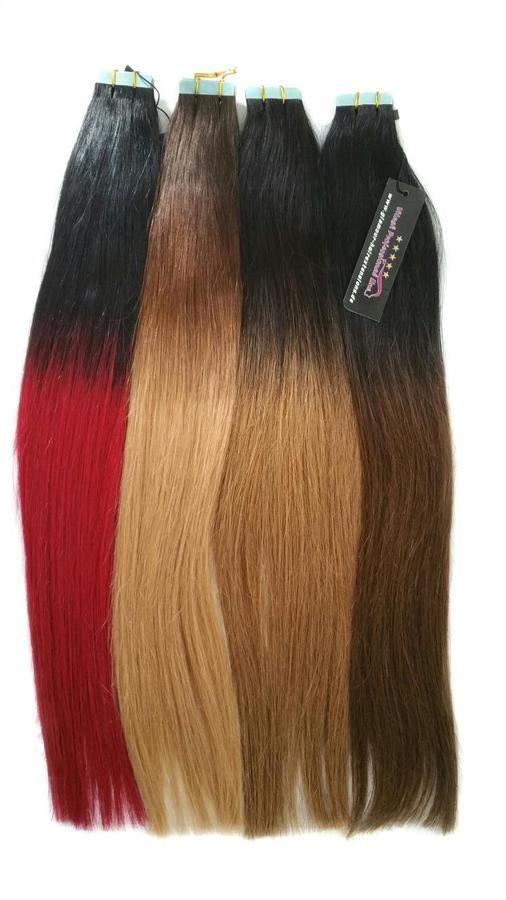 Ombre 100 Hair Echthaar Tape Inon Extensions Skin Weft Haarverl