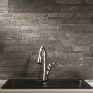 Install these thinly cut real stone backsplash panels on your wall for an easy update. Use shears to cut these lightweight, flexible panels to fit around cabinets or outlets, and then peel and stick t