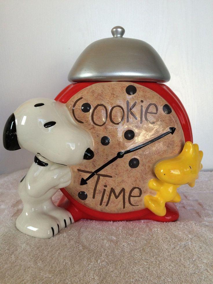 Vintage Snoopy and Woodstock Cookie Time Ceramic Cookie Jar | eBay