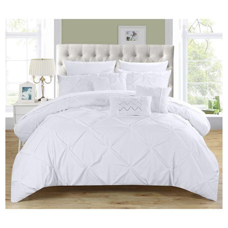 Valentina Pinch Pleated & Ruffled Comforter Set 10 Piece (Queen) White - Chic Home Design