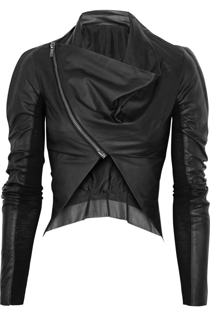 Love the styling of this jacket.             Rick Owens - Jersey-insert leather jacket