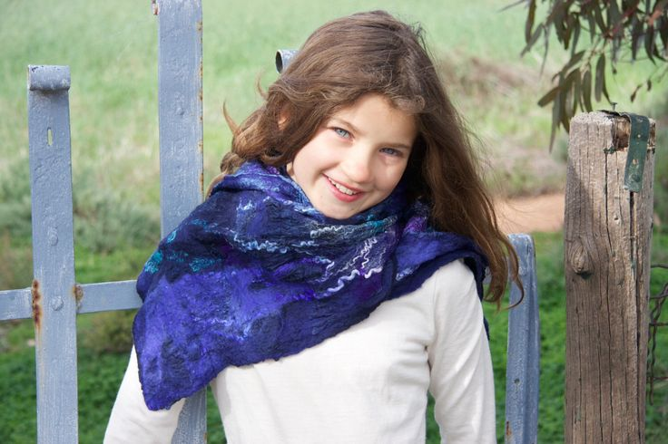 A personal favorite from my Etsy shop https://www.etsy.com/listing/236208190/lovely-long-nuno-felted-scarf-in-navy