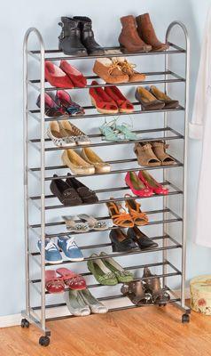 rolling 10 tier organized shoe shelf rack