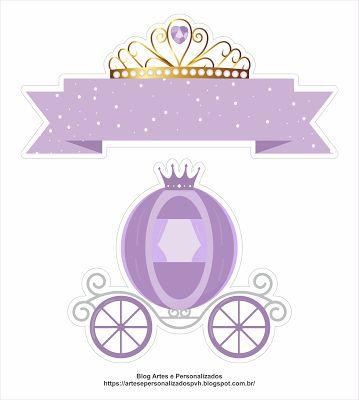 Topo de Bolo Princesa Carruagem Lilás