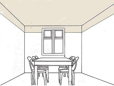 Verlagen Je kan op twee manieren een plafond optisch lager laten lijken. De ene manier is door het plafond in een donkere kleur te schilderen. En de andere manier is door de kleur van het plafond een stukje (ongeveer 30cm) door te laten lopen op de muur.