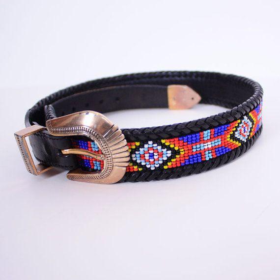 Vintage BEADED Navajo Black Leather Belt by dreamingneon on Etsy, $28.00