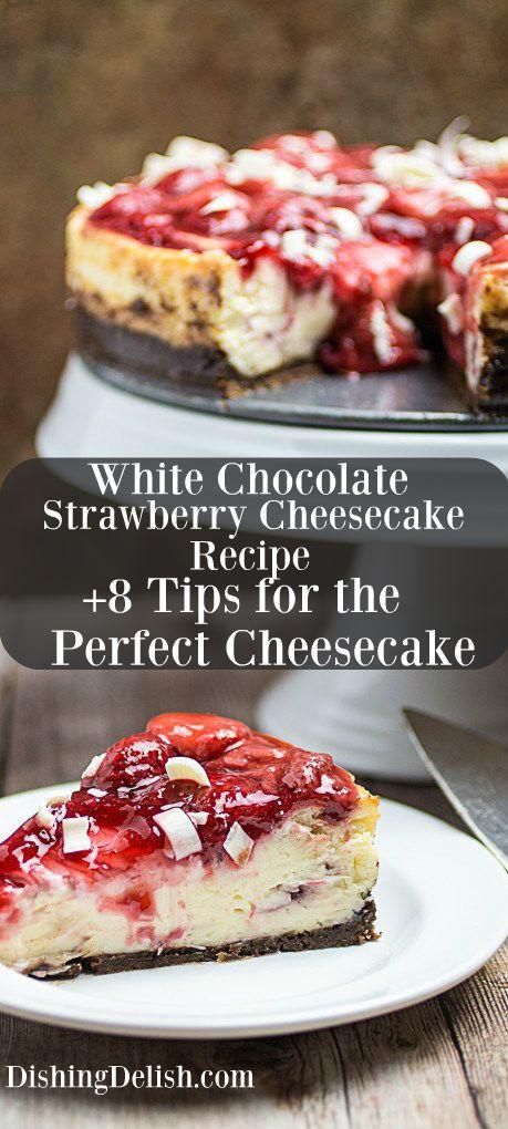 Easy White Chocolate Strawberry Cheesecake