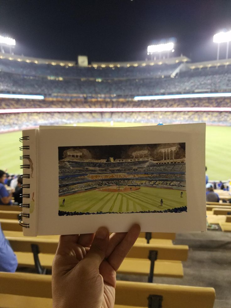 """Dodgers vs Padres 9/27/2017, Watercolor, 6.5"" x 3.5"""" Posted by /u/NoBackstreetboys to /r/art"