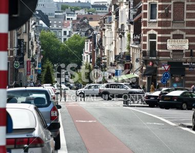 City life around Berlaymont, European Commission center in Brussels Royalty Free Stock Photo