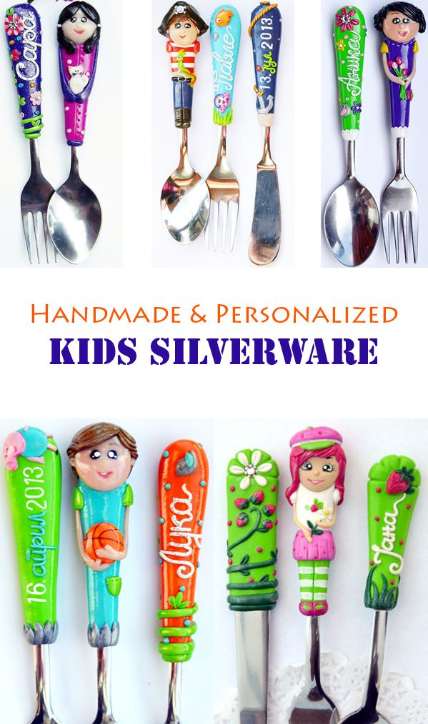 Silverware that can be personalized with the kid's name, face, favorite character...I need it for my picky eater #kids #spoons #gifts