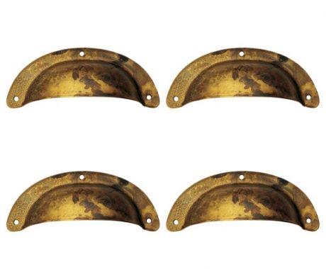 Lot de 4 poignées de porte ou tiroir de meuble en laiton doré vieilli 100 mm, COQUILLE GM | Bouton et poignée de meuble