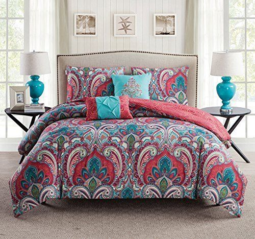 Cute Bedding Boho Chic Quilt Set 4 Pc Super Soft Twin Comfort Winter Art Decor #VCNYHome #Holiday