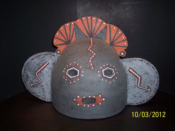 Grey Native Mask Ceramic Interior or Exterior Wall Sconce - pinned by pin4etsy.com