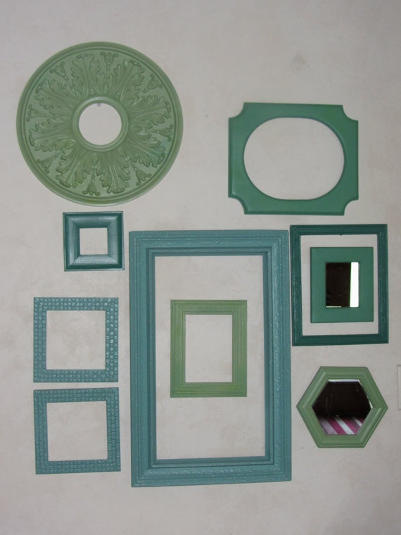 Painted Vintage & Variety Of Frames Mirrors Aqua by VintageLivin, $48.00