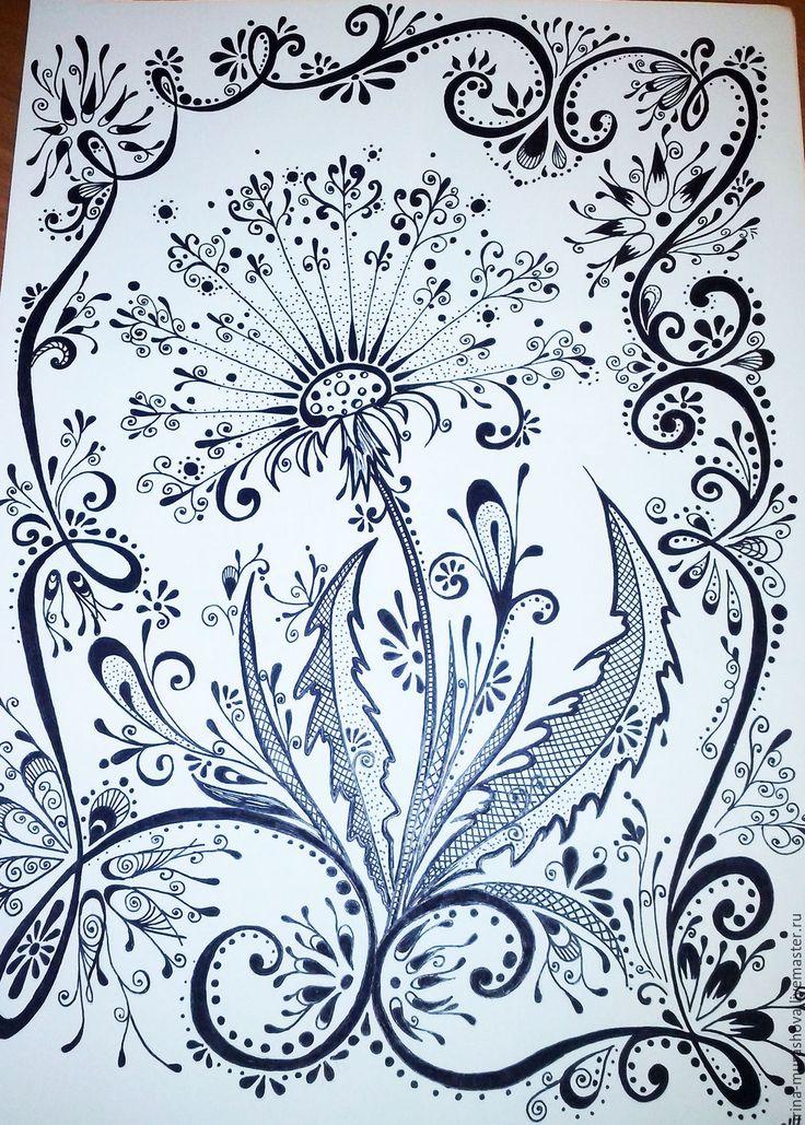 """Купить Картина """"Одуванчик"""". Креативная графика, дудлинг - графика, рисунок, креативная графика, цветы, дудлинг"""
