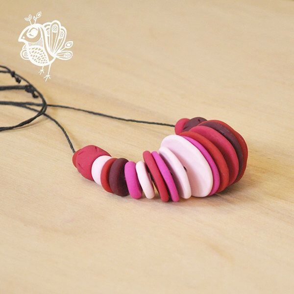 Handmade Maxi Disc Polymer Clay Necklace - Gum Blossom Ballet by ThatWeDo on Etsy https://www.etsy.com/listing/224483872/handmade-maxi-disc-polymer-clay-necklace