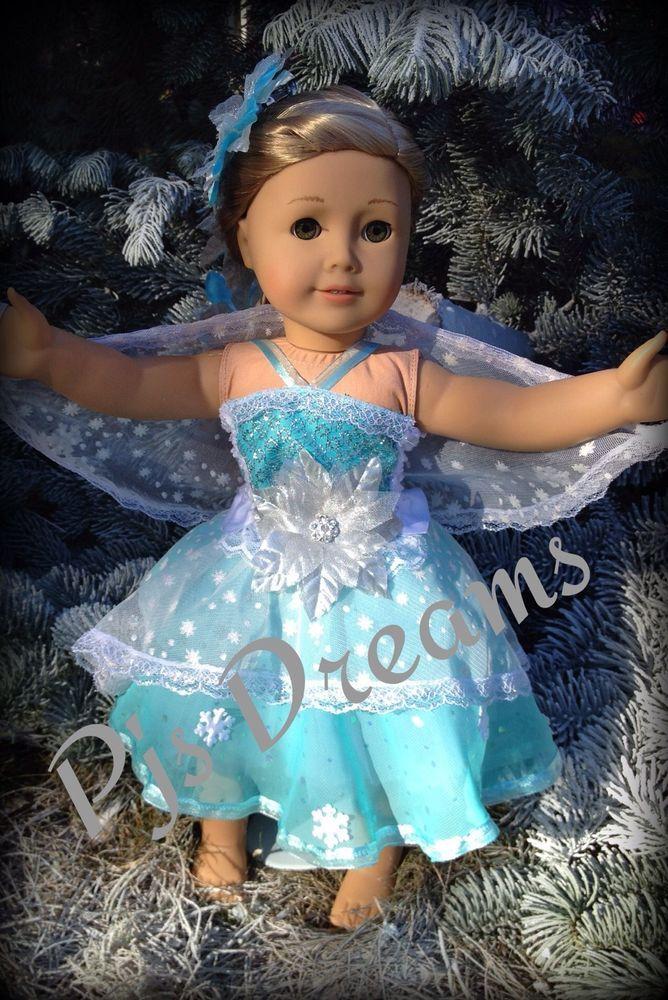 "Disney Queen Elsa American girl dress gown Doll clothes fits 18"" frozen tutu"