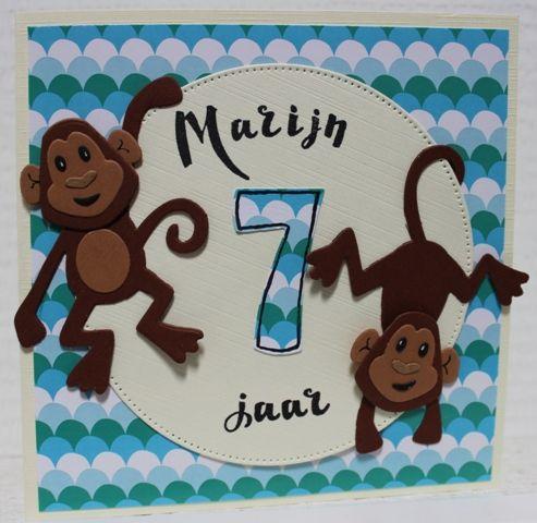 Gemaakt door Joke # kinderkaart met aapjes, Marijn 7 jaar