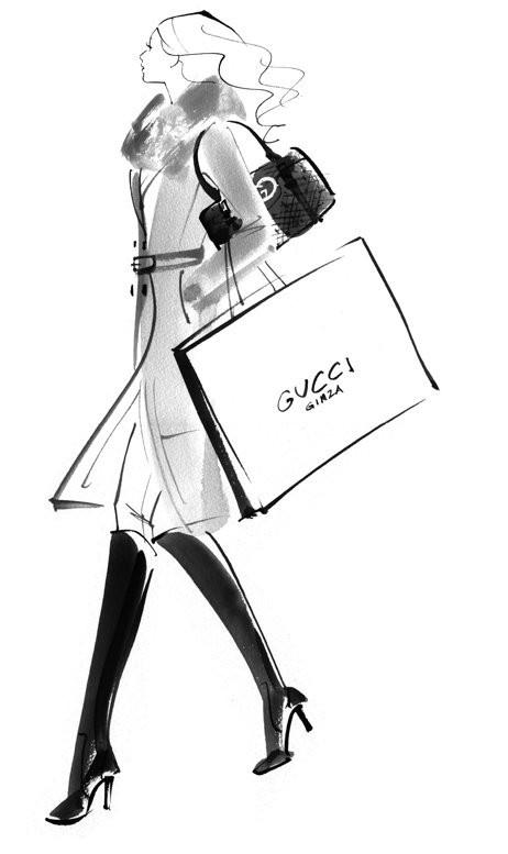Fashion Illustration Shopping Gucci