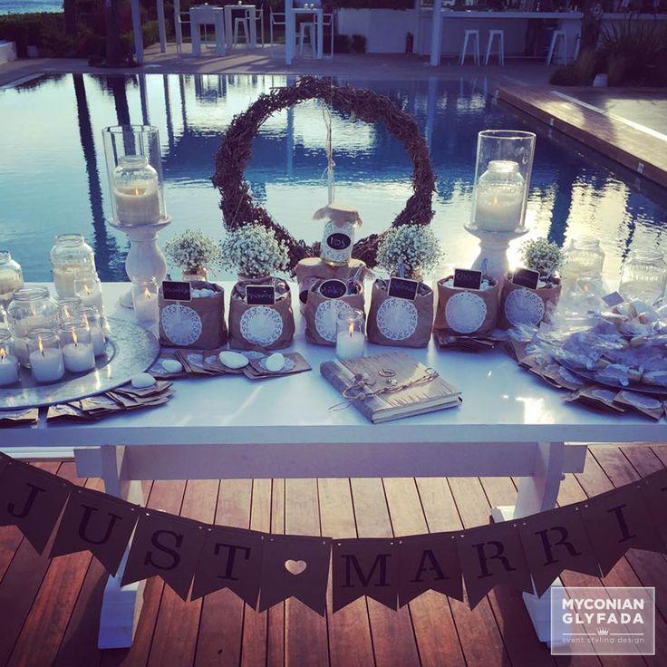 | Beautiful Sunset Wedding | Βασίλης & Κωνσταντίνα |  #greekwedding #sunsetwedding #welcometable #wishtable #justmarried #candybar #weddingflowers #myconianglyfadawedding