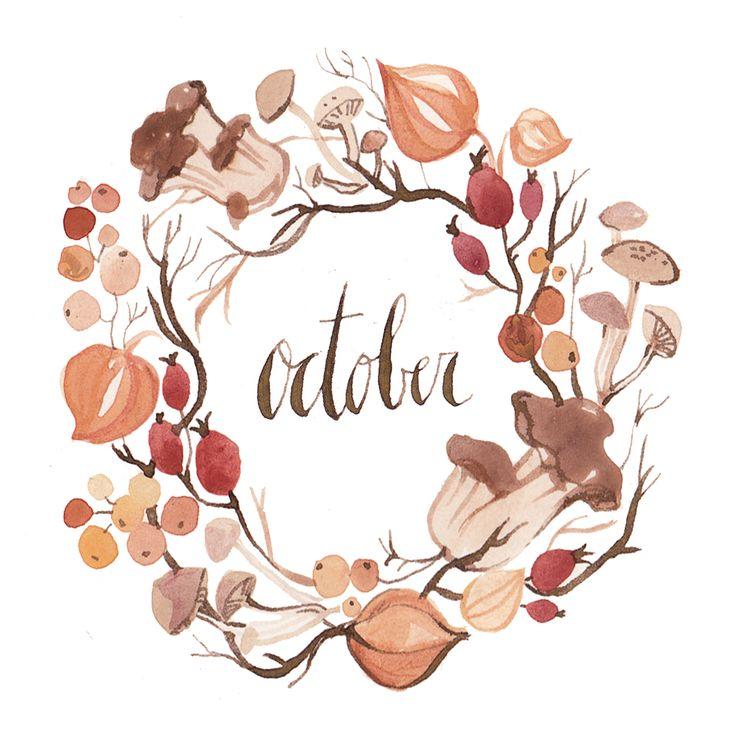 Wreath calender of seasonal goodies: hawthorne, rosehips, chinese lanterns, and woodsy mushrooms. By illustrator Kelsey Garrity-Riley