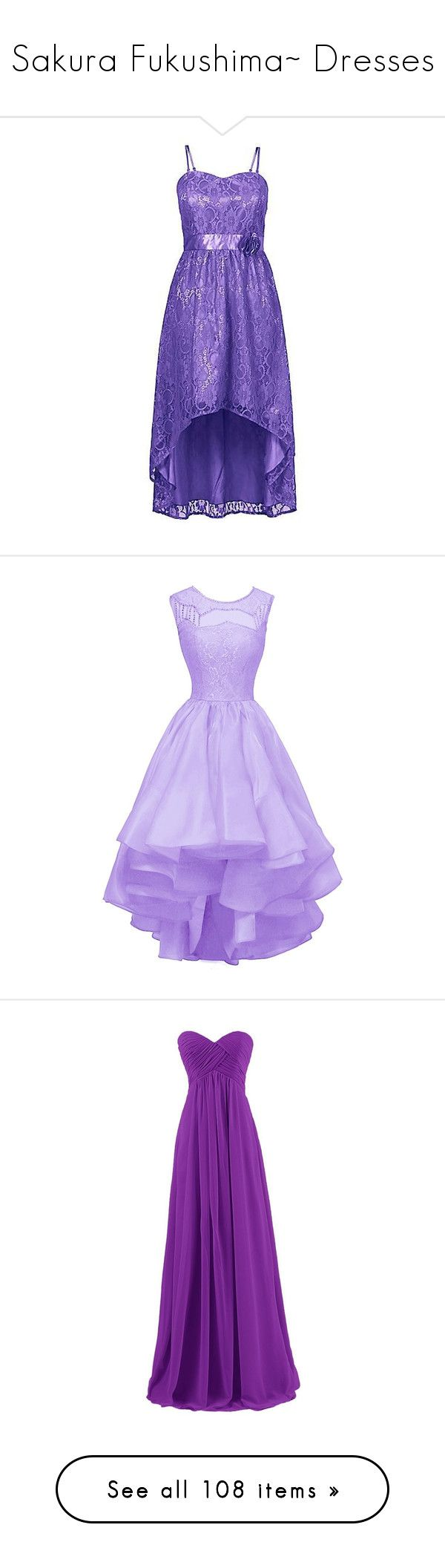"""Sakura Fukushima~ Dresses"" by tabithahallows ❤ liked on Polyvore featuring dresses, lace dress, purple lace cocktail dress, purple cocktail dresses, seashell dress, lace cocktail dress, short dresses, vestidos, short purple dresses and evening dresses"