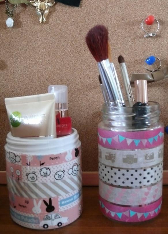 Use cute masking tape to decorate a jar...wonderful makeup brush holder...