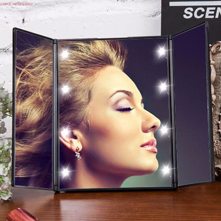 8 LEDs Lighted Makeup Mirror Make-up 3 Folding Portable Touch Screen Adjustable…