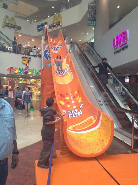 """Dizzengof Center / Fanta Slide ;-) """"Leave your customers extremely satisified... they'll all love your 'Ad Slide'!"""" We deliver advertising campaigns throughout the UK and Europe, but we also welcome enquiries from around the globe too! For all of your advertising needs at unbeatable rates - www.adsdirect.org.uk"""