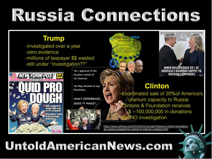"""Trump & Clinton Russia Connections President Donald Trump -investigated over a year; -zero evidence; -millions of taxpayer $$ wasted; -still under """"investigation??""""  ex-Secretary of State Hillary Clinton -coordinated sale of 20%of America's uranium capacity to Russia; -Clintons & Foundation receives $ ~150,000,000 in donations; -still NO investigation. What exactly do these facts reveal? Clearly, it is a government protecting its criminals. What Happened America?? UntoldAmericanNews.com"""