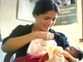 Salma Hayek breastfeeding another's starving baby  :D