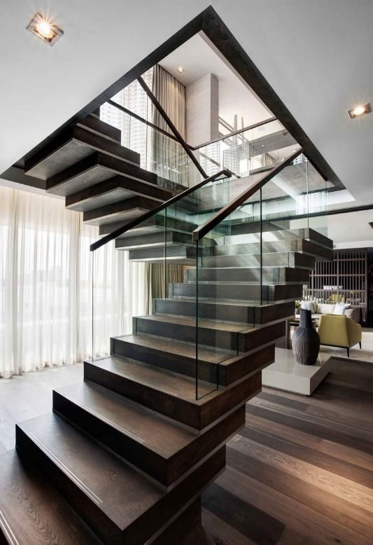 Modern Design for Stairs with wood and glass~ Contemporary and unique