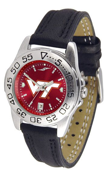 Virginia Tech Hokies Ladies Sport Watch With Leather Band & AnoChrome Dial