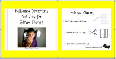 Straw Planes Receptive Language Activity - Re-pinned by @PediaStaff – Please Visit http://ht.ly/63sNt for all our pediatric therapy pins