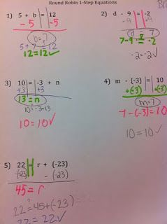 Teaching one step equations using the round robin strategy...Disguising math to be a group game?  What?!?! : )