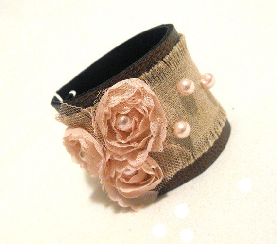Shabby chic leather bracelet with lace flowers by julishland, $18.00