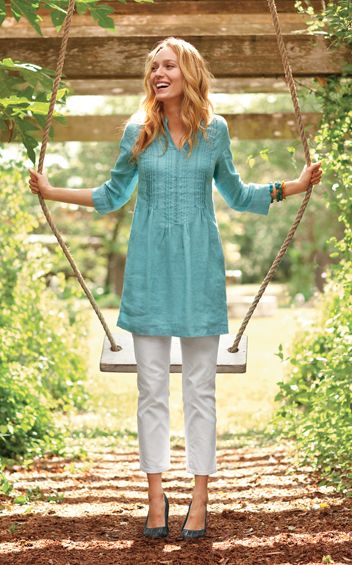 Linen Tunic and Denim Crops one of my new spring outfits :0)