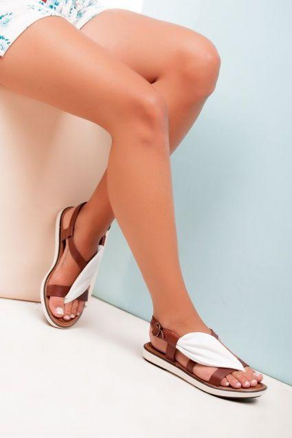 Kadın Hakiki Deri Beyaz Sandalet RMZ-0716
