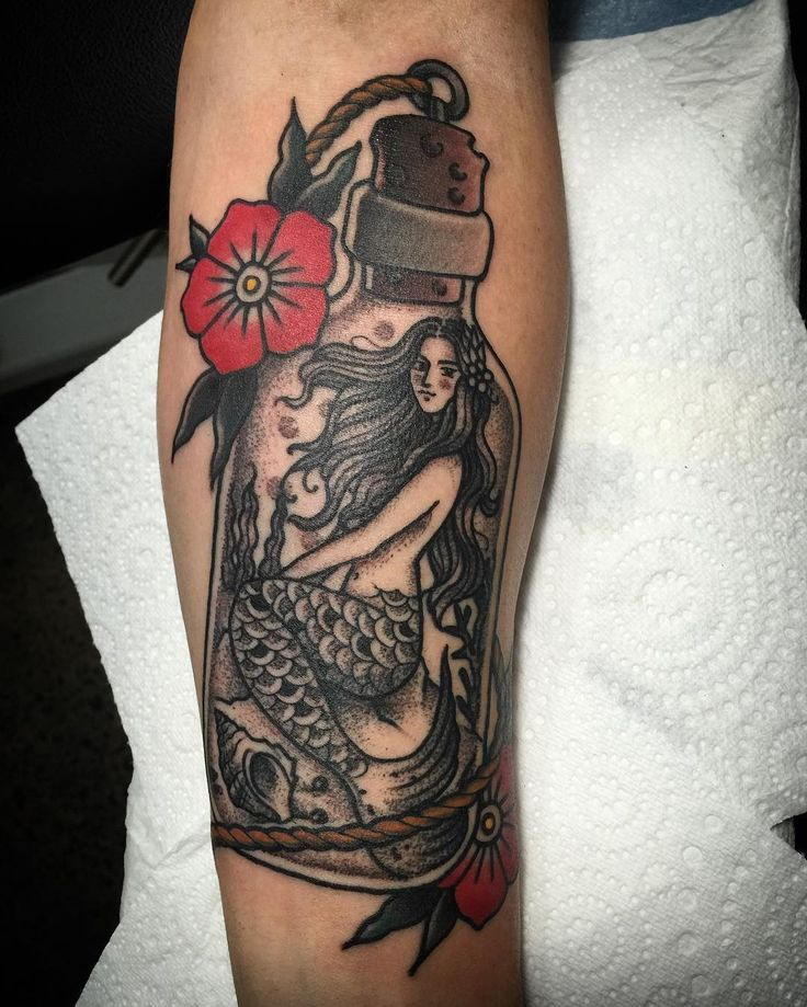 American traditional mermaid tattoo