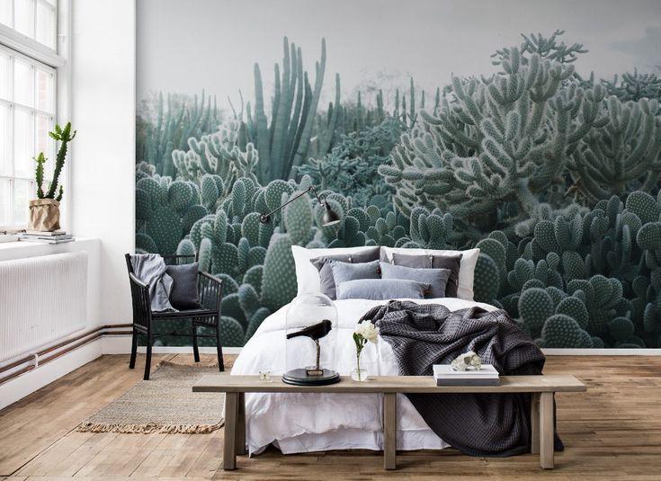 Rebel Walls behang cactus collectie Palette #behang #interieur #interieurinspiratie #slaapkamer