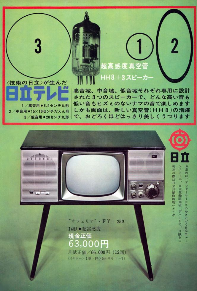 1962, an ad for the Hitachi television set Ophelia which doubled as furniture