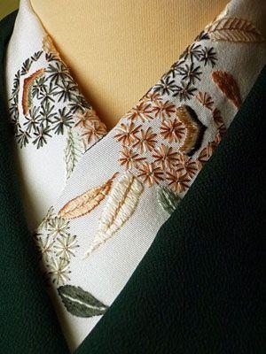 embroidery kimono collar detail