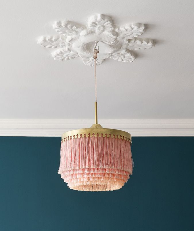 pendant light | retro fringe lamp | vintage lamp | ceiling medallion | white + rose + dark teal | lighting | interior design | interior decor