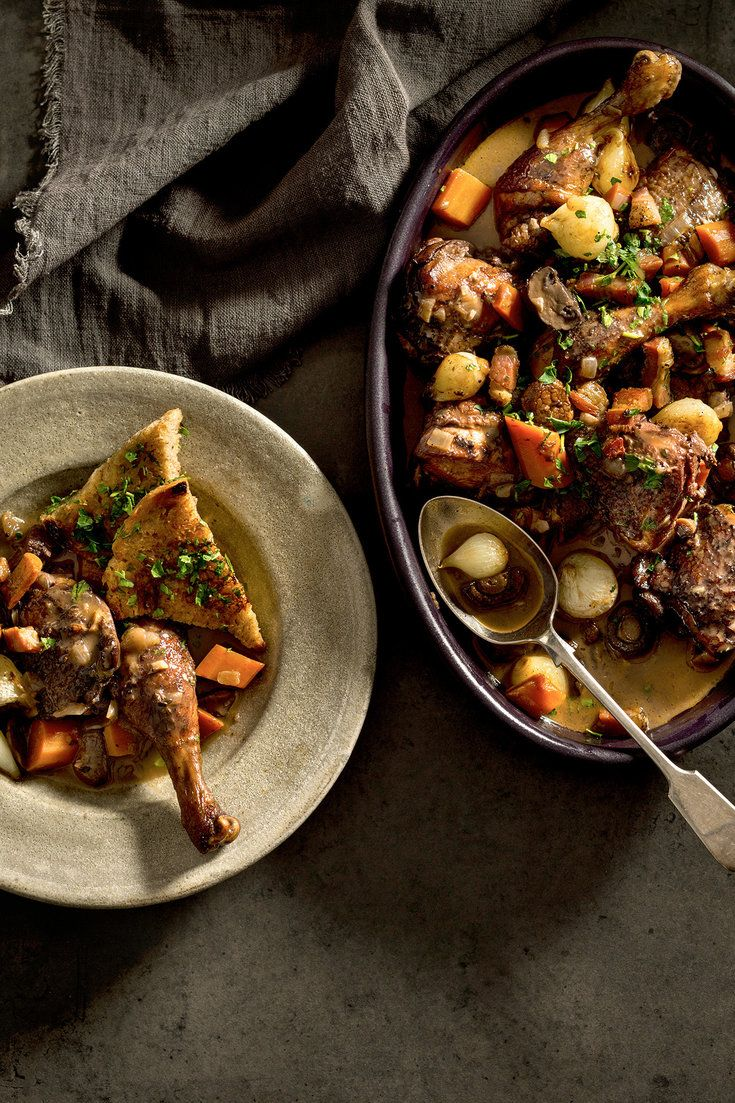 "NYT Cooking: Where would French cuisine be without wine? It is as important in the pot as it is in the glass, the base of myriad stews and braises. One of the best is coq au vin, in which chicken is slowly simmered with red wine. <span class=""photo-video-credit"">Photographs by Francesco Tonelli for The New York Times. Videos by Alexandra Eaton and Shaw Lash.</span>"