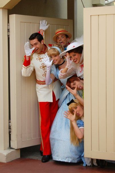 """So cute! DisneyWorld characters coming out from the """"backstage"""" areas of the parks. Love it!---Prince Charming, Cinderella, Bert, Mary Poppins, Wendy and Alice (:"""
