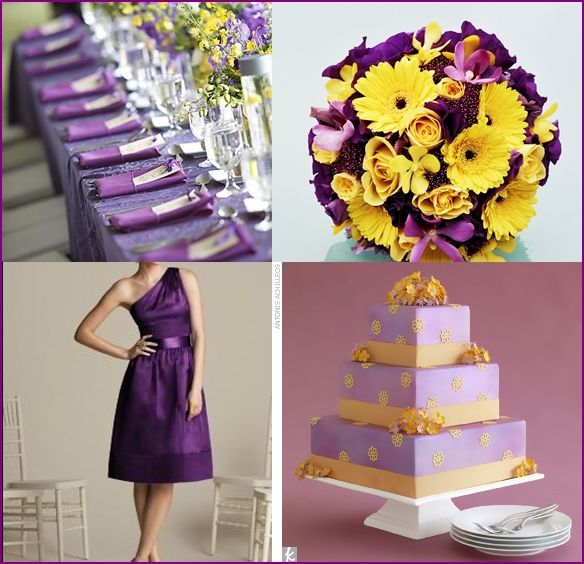 50 best purple yellow wedding decor images on pinterest yellow perfectjust with a yellow ribbon around the waist of the dress junglespirit Images