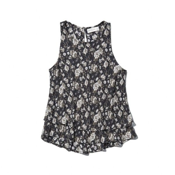 Abercrombie & Fitch Tiered Shell Top (74 BRL) ❤ liked on Polyvore featuring tops, black floral, shell tops, abercrombie fitch top, floral tops, flower print tops and tier top