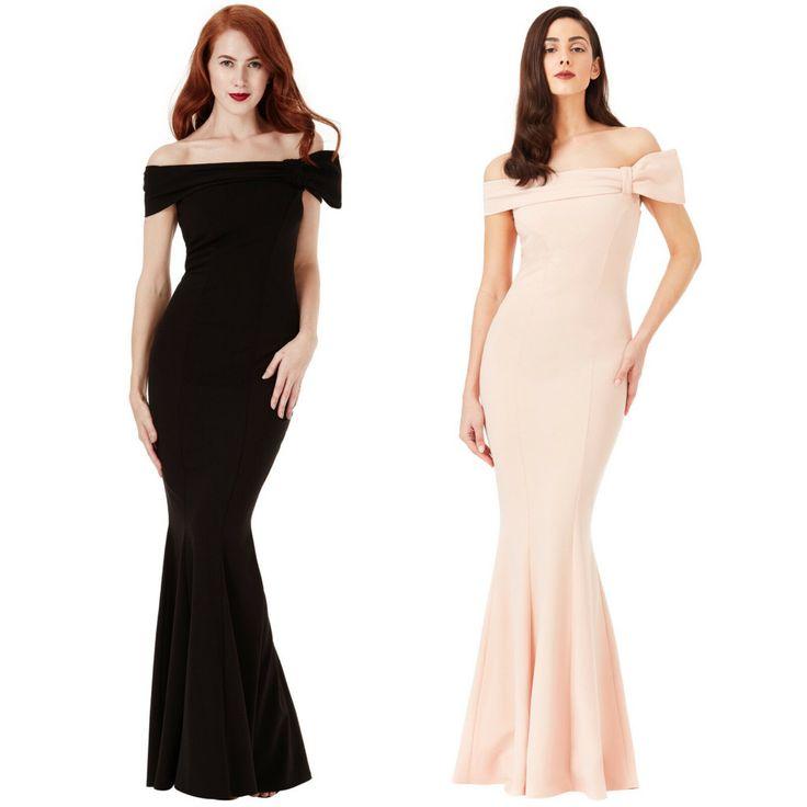 Vestito donna lungo scollatura Bardot fiocco laterale sera elegante cerimonia  -…