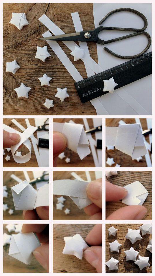 Ich kann gar nicht genug von diesen kleinen Sternen haben! Bei mir liegen schon Unmengen... Ihr braucht 1-1,5cm breite Papierstreifen, die Länge ist relativ unwichtig, ich habe hier einfaches DIN A4 Druckerpapier der Länge nach in Streifen geschnitten. Am besten macht man das mit einer Schneidemaschine oder Lineal und Cutter, die Ränder sollten nämlich möglichst gerade und parallel sein. Man kann auch farbiges oder gemustertes Papier nehmen, es sollte nur nicht dicker als Tonpapier sein. So…
