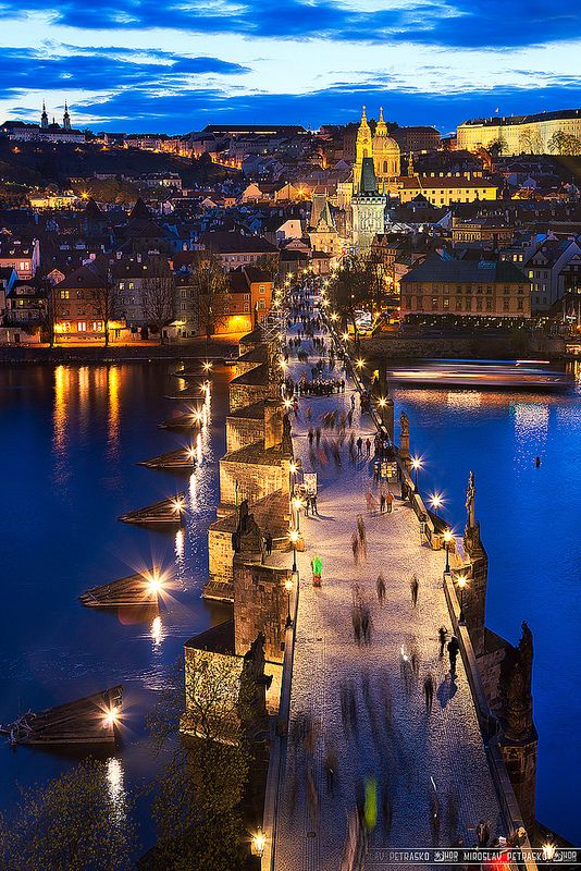 """The Charles bridge lights"" (Prague, Czech Republic) ~ Photo by Miroslav Petraskov on flickr"